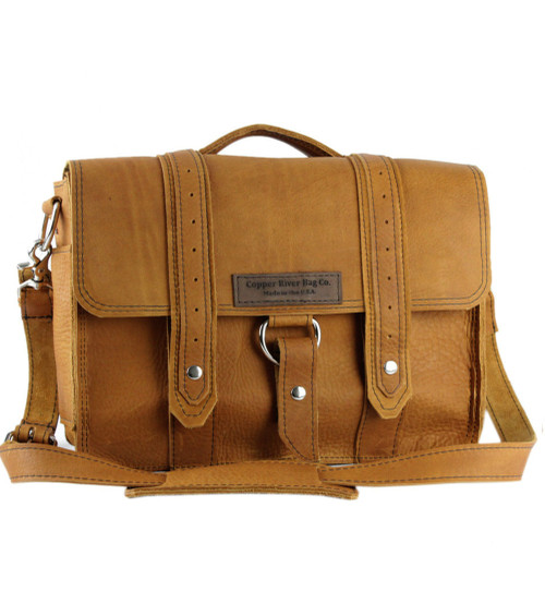 "14"" Medium  Newtown  Voyager Laptop Bag in Tan Grizzly Leather"