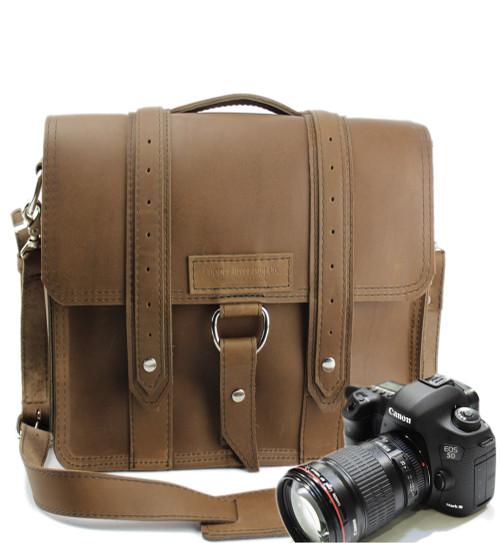 """10"""" Small Safari Napa Camera Bag in Brown Oil Tanned Leather"""