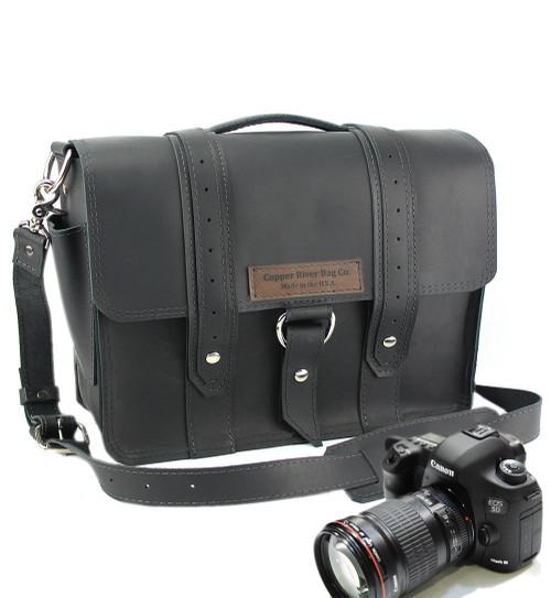 "15"" Large Sonoma Voyager  Camera Bag in Black Napa Excel Leather"