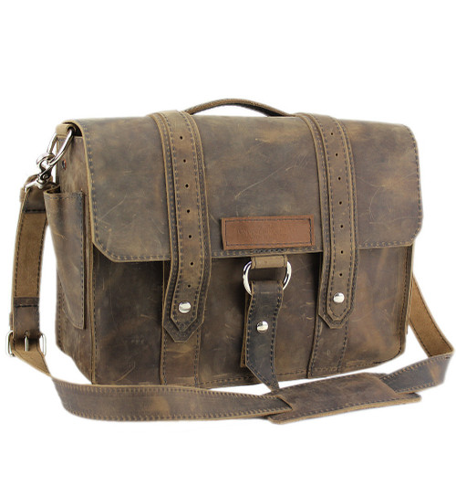 "14"" Medium Rockport Voyager Briefcase in Distressed Tan Leather"