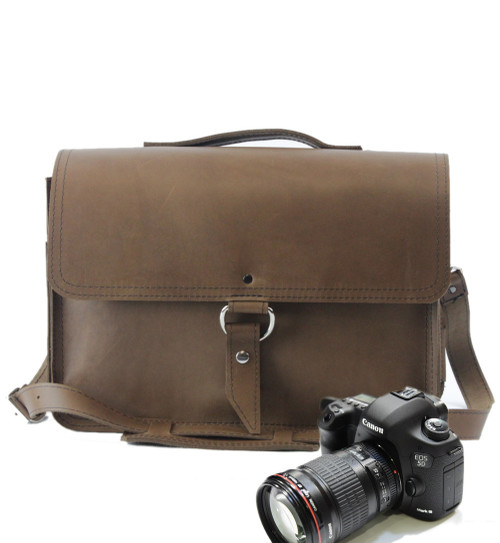 "14"" Medium Midtown Newport Camera Bag in Brown Oil Tanned Leather"