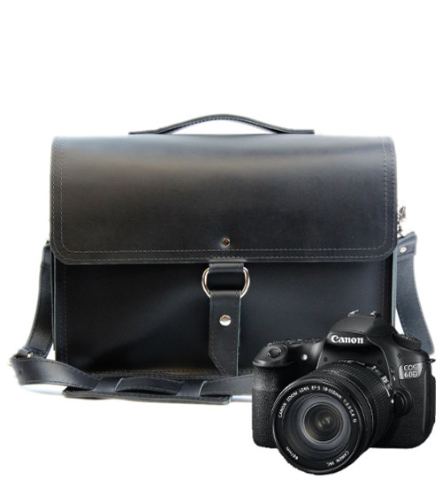 "14"" Medium Midtown Newport Camera Bag in Black Napa Excel Leather"