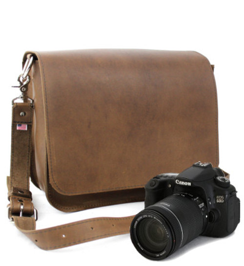 "Large 15"" Mission Sonoma Camera Bag Made in the U.S.A. - Brown - 15-MIS-BR-LCAM"