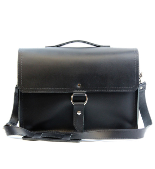 "15"" Large Sierra Midtown Large Laptop Bag in Black Napa Excel Leather"