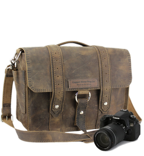"14"" Medium Newport Voyager Medium Camera Bag in Distressed Tan Leather"