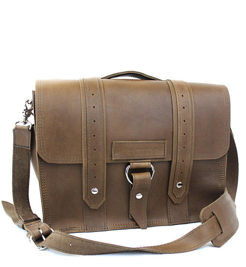 """15"""" Large Sierra Voyager Large Laptop Bag in Brown Oil Tanned Leather"""