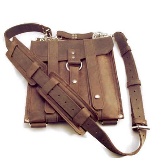"""Slim 10 """" Baxter Messenger iPad messenger (Tablet) Bag in Brown Leather"""