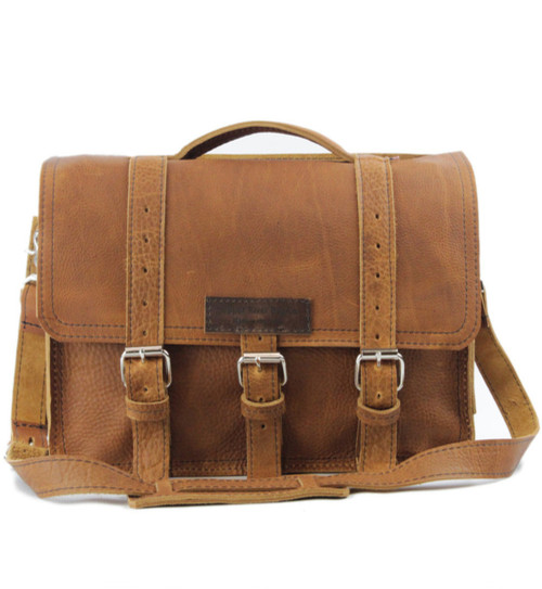"""15"""" Large BuckHorn Laptop Bag in Tan Grizzly Leather"""