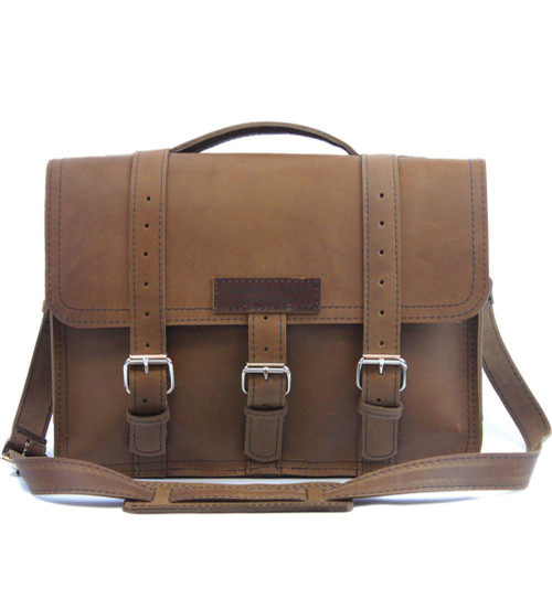 "15"" Large Sierra BuckHorn Laptop Bag in Brown Oil Tanned Leather"
