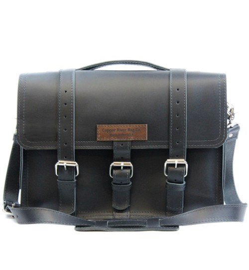 "15"" Large Belmar BuckHorn Laptop Briefcase in Black Napa Excel Leather"