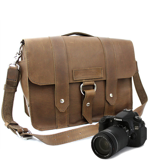 """Large 15"""" Brown Journeyman Sonoma Camera Bag Made in the U.S.A. - 15-J-BR-OIL-LCAM"""