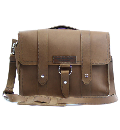 "14"" Newtown Journeyman Medium Laptop Bag in Brown Leather"