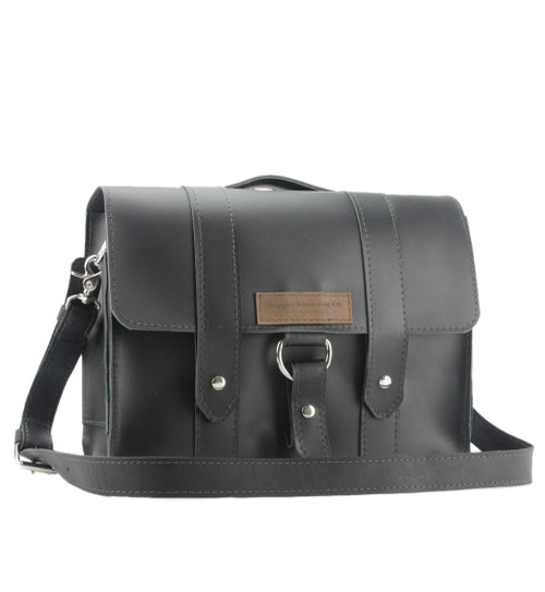 "14"" Newtown Journeyman Medium Briefcase in Black Leather"