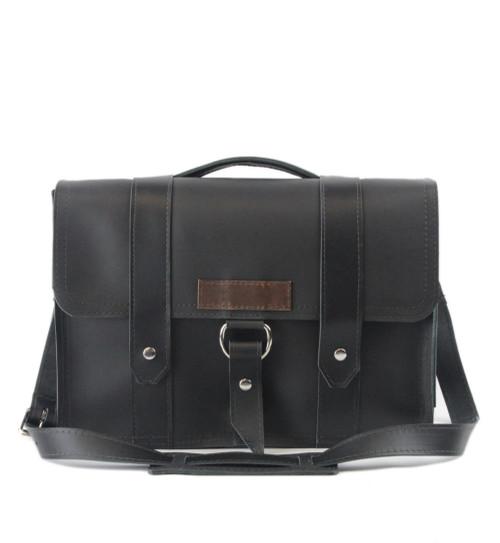 "15"" Large Black Sierra Journeyman Laptop in Black Leather"