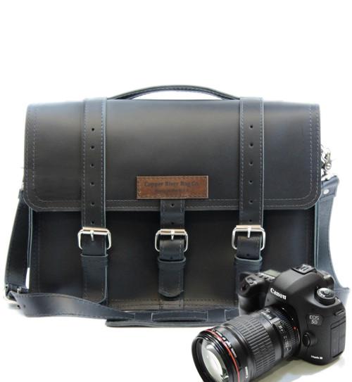 "15"" Large Sonoma BuckHorn Camera Bag Black Napa Excel Leather"