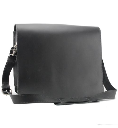 "10"" Small Safari Mission iPad (Tablet) Bag in Black Napa Excel Leather"