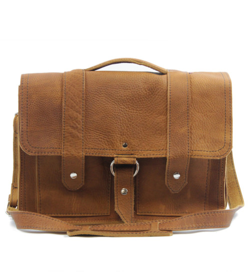 "15"" Large Hemingway Briefcase in Grizzly Tan Leather"