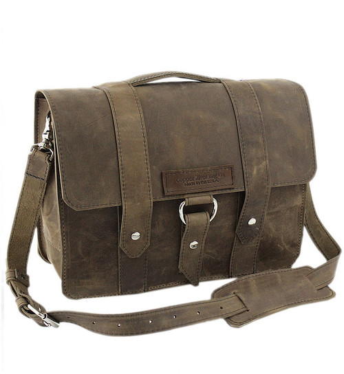 "14"" Newtown Journeyman Medium Laptop Bag in Distressed Tan Leather"