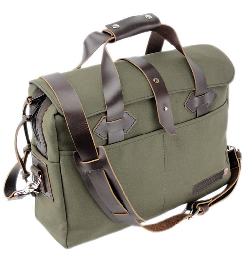 "15"" Classic Briefcase with Weather Flap in Water Resistant Cotton Duck Fabric"