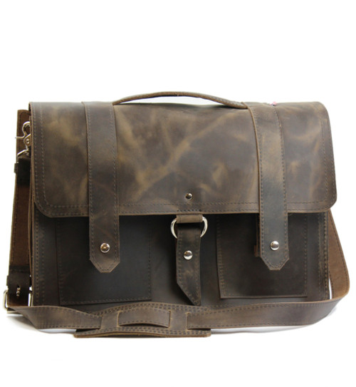 "15"" Large Hemingway Briefcase in Distressed Tan Oil Tanned Leather"