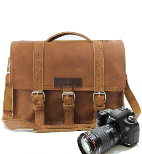 "14"" Medium Sonoma BuckHorn Camera Bag in TAn Grizzly Leather"