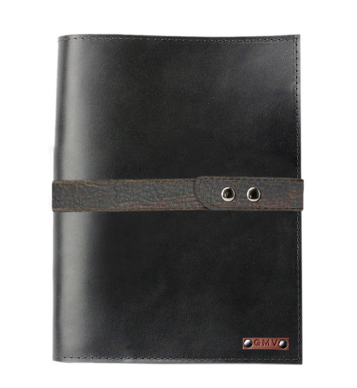 Executive8.5X11  Padfolio in Black Leather with Grizzly Strap Made in the U.S.A. - PDF-BL-EXL-CGZ-STRP-8.5X11