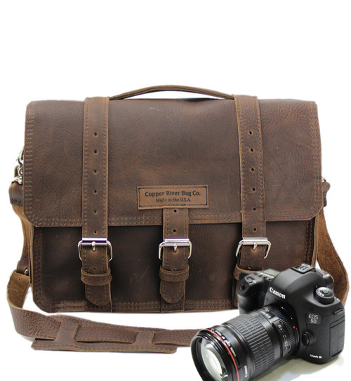 """15"""" Large Sonoma BuckHorn Camera Bag in Chocolate Grizzly Leather"""