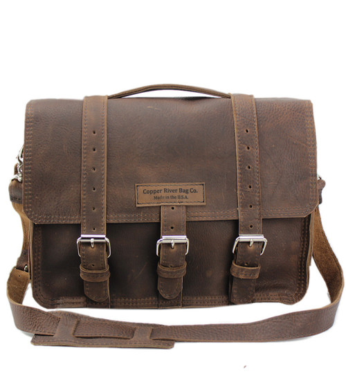 "15"" Large Belmar BuckHorn Laptop Briefcase in Chocolate Grizzly Leather"