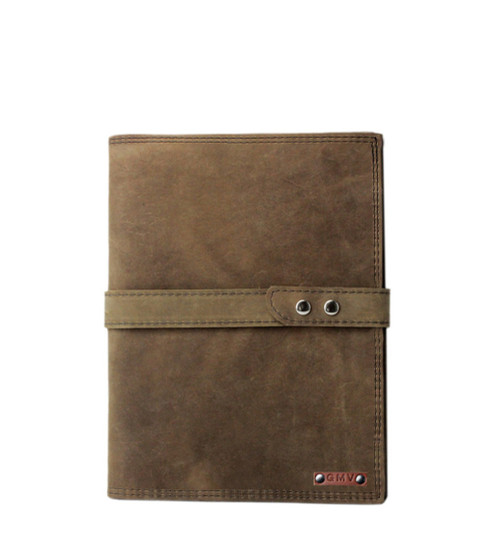 5 x 8 Notepad in Distressed Excel Leather Made in the U.S.A. - 5X8-DIS-EXL-DIS-EXL-STRP-PDFOL
