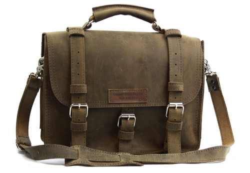 """15"""" Large Lincoln Classic Briefcase in Distressed Tan Leather / Lined with Suede"""