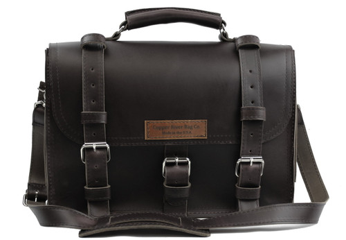 """17"""" X-Large Lincoln Classic Briefcase in Black Leather / Lined with Suede"""