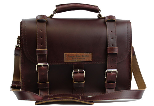 "17"" X-Large Lincoln Classic Briefcase in Coffee Brown Leather / Lined with Suede"