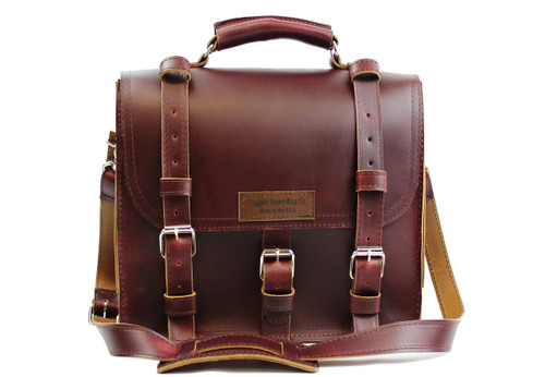 """12"""" Small Lincoln Classic Satchel Briefcase in Burgundy Red Leather / Lined with Suede"""
