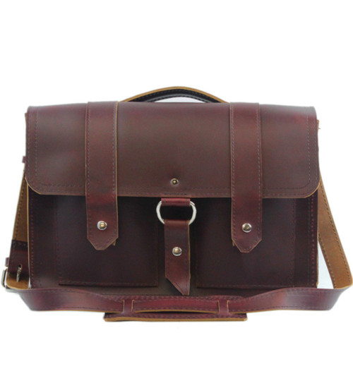 "15"" Large Hemingway Briefcase in Burgundy Red Napa Excel Leather"