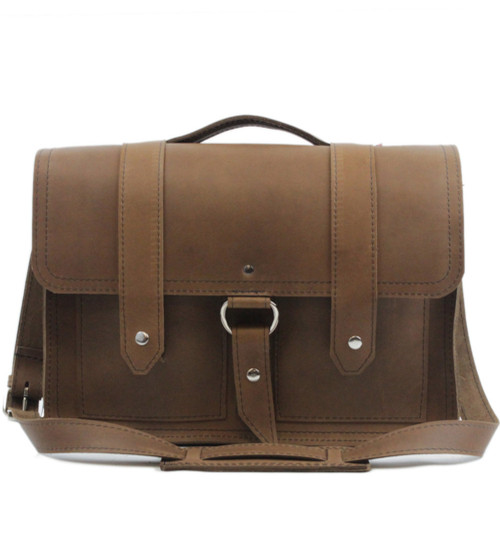 "15"" Large Hemingway Briefcase in Brown Oil Tanned Leather"