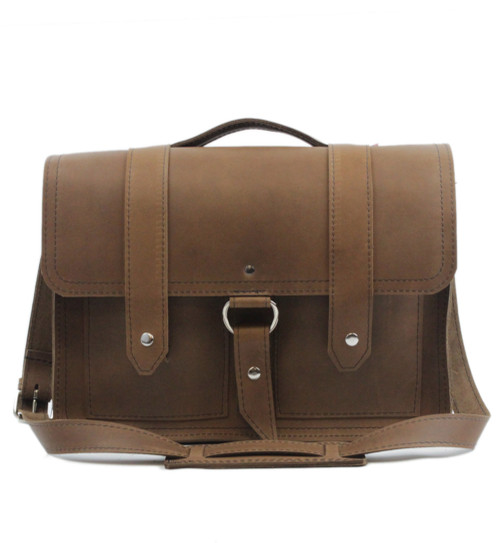 """Executive 15"""" Hemingway Briefcase in Brown Leather / Lined With Suede"""
