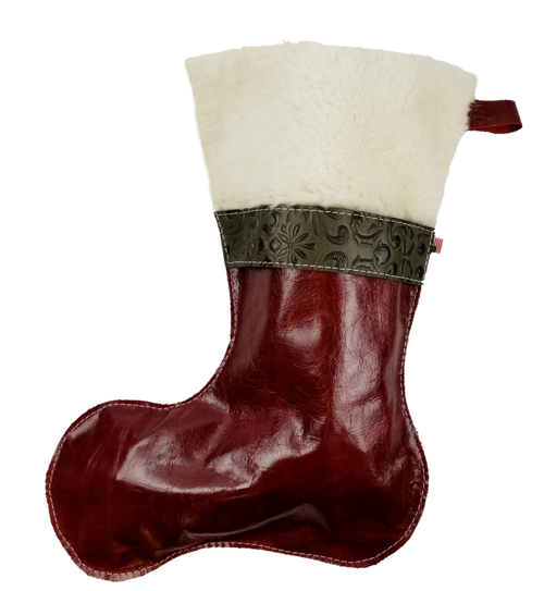 Christmas Stockings in Italian Red Leather With Wool Top and Green Paisley Accent