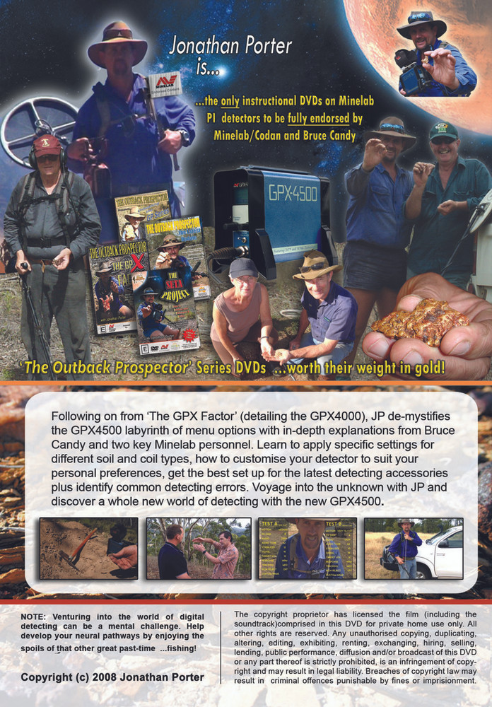 The Seta Project Gold Prospecting Jonathan Porter Back of DVD