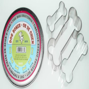 Dog Bone Cookie Cutter Set in Round Tin
