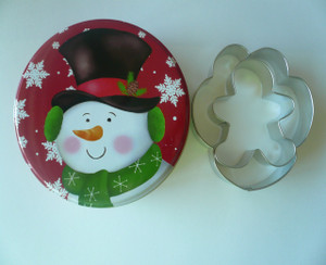 Gingerbread Man & Paw Print Cookie Cutter Set in Tin