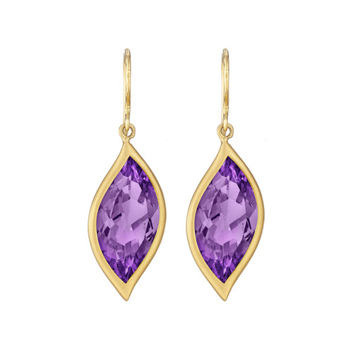 Leaf Amethyst Earrings