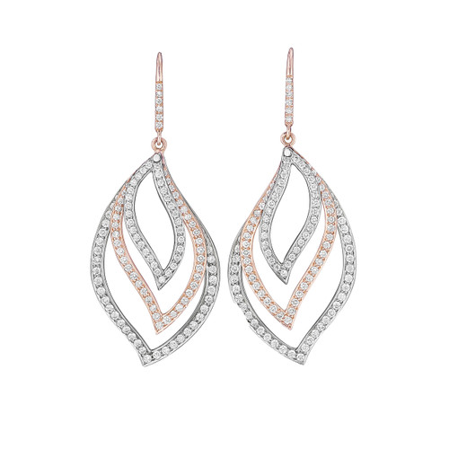 Athena Rose and White Gold Pave Diamond Leaf Trio Earrings