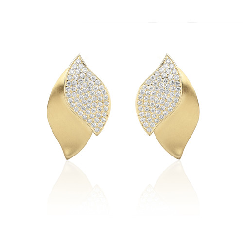Lotus One Leaf Pave Diamond Earrings