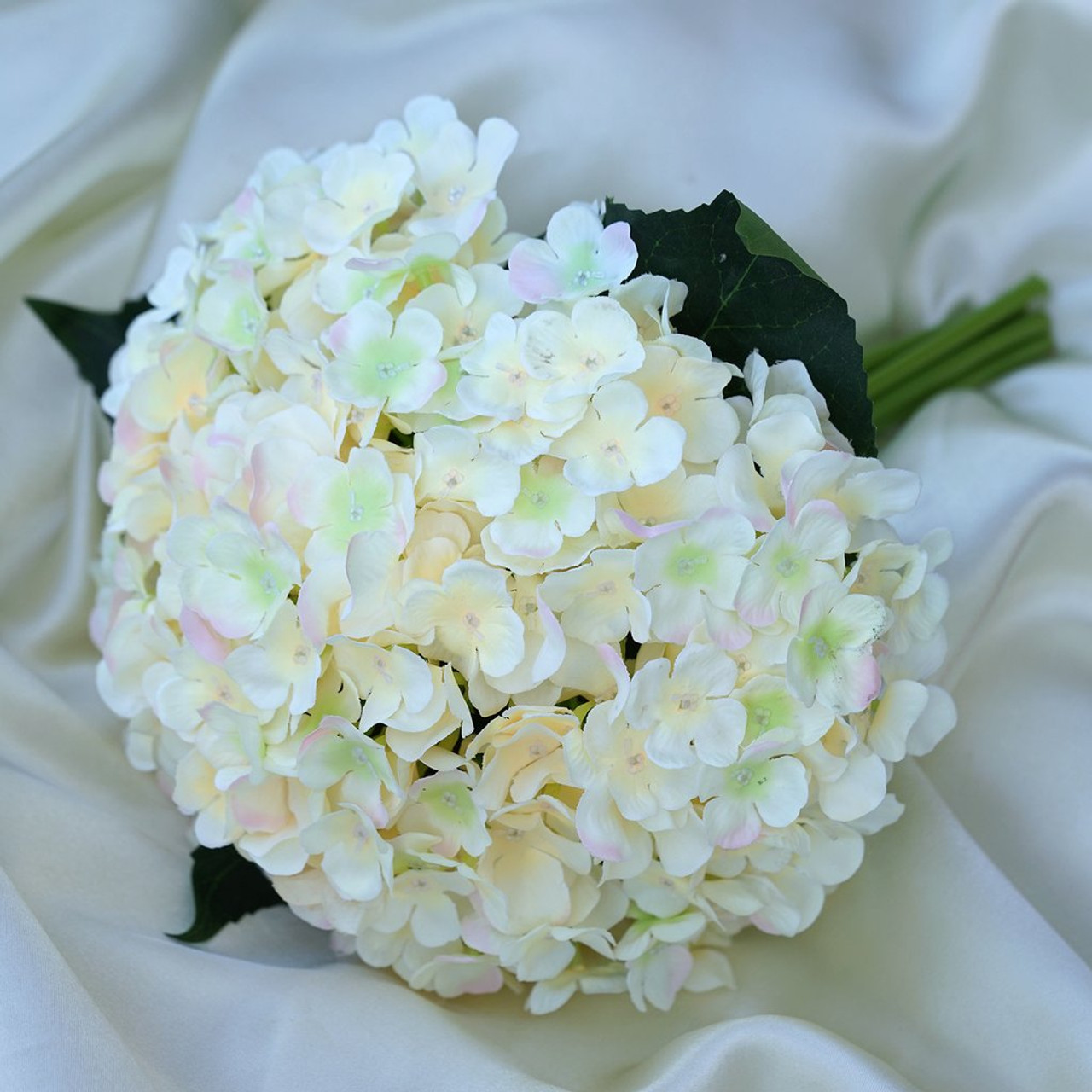 Blush Artificial Hydrangea Flower Bouquet with Glass Vase for Home ...