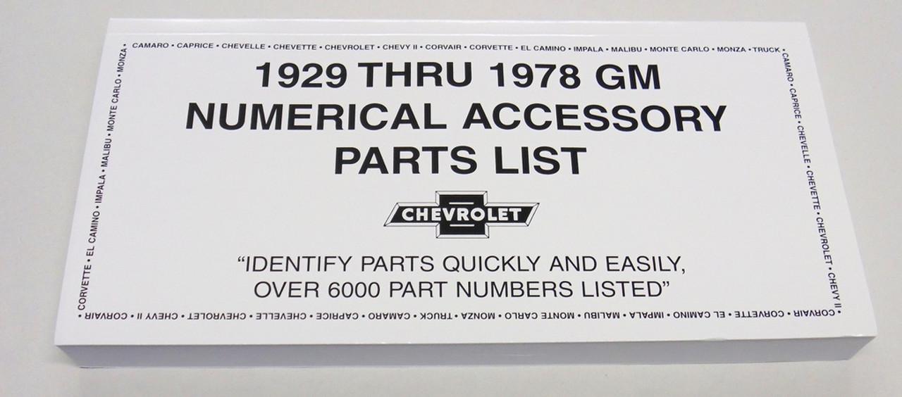 1946-1978 CHEVY CHEVROLET ACCESSORY NOS NUMBER MANUAL - I-5 Classic ...