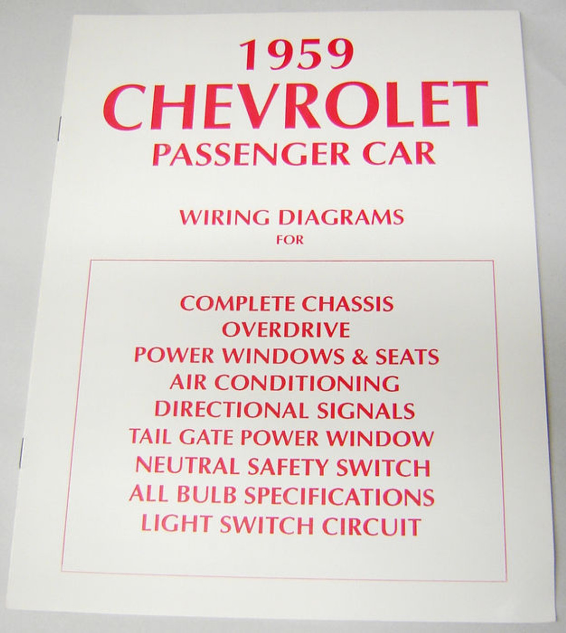 59 CHEVY IMPALA ELECTRICAL WIRING DIAGRAM MANUAL - I-5 Classic Chevy