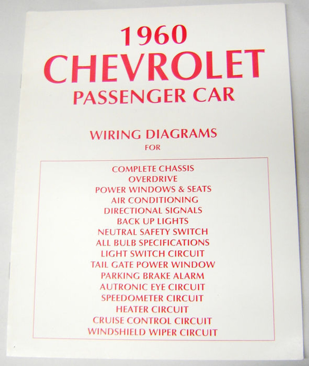 60 1960 Chevy Electrical Wiring Diagram Manual - I-5 Classic Chevy