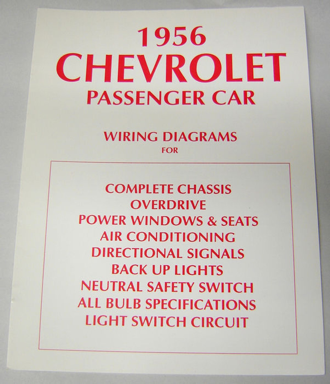 56 1956 Chevy Electrical Wiring Diagram Manual - I-5 Classic Chevy