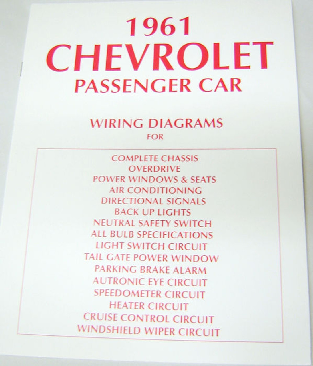 61 Chevy Impala Electrical Wiring Diagram Manual 1961