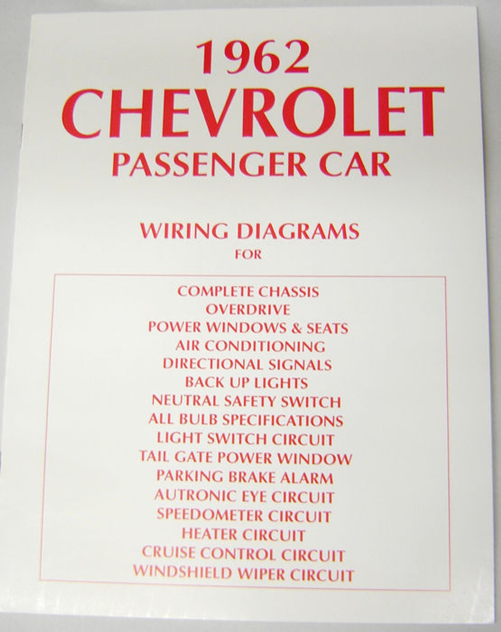 62 Chevy Impala Electrical Wiring Diagram Manual 1962 - I-5 Classic ...